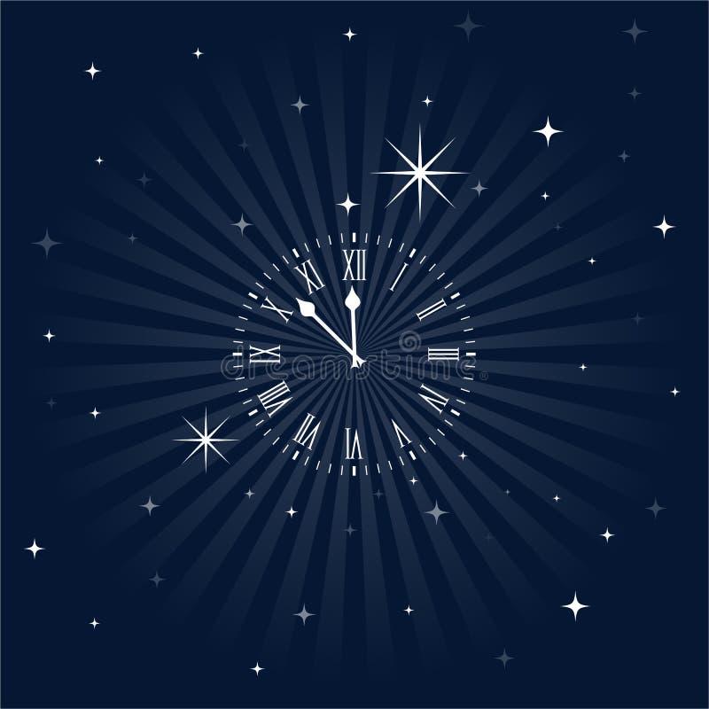 Close To Midnight, Insomnia Clock. Roman numeral clock getting close to midnight over a starry night sky vector illustration