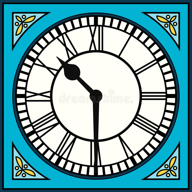 Roman Numeral Clock at Half Past Ten. Assets are separated into layers stock illustration