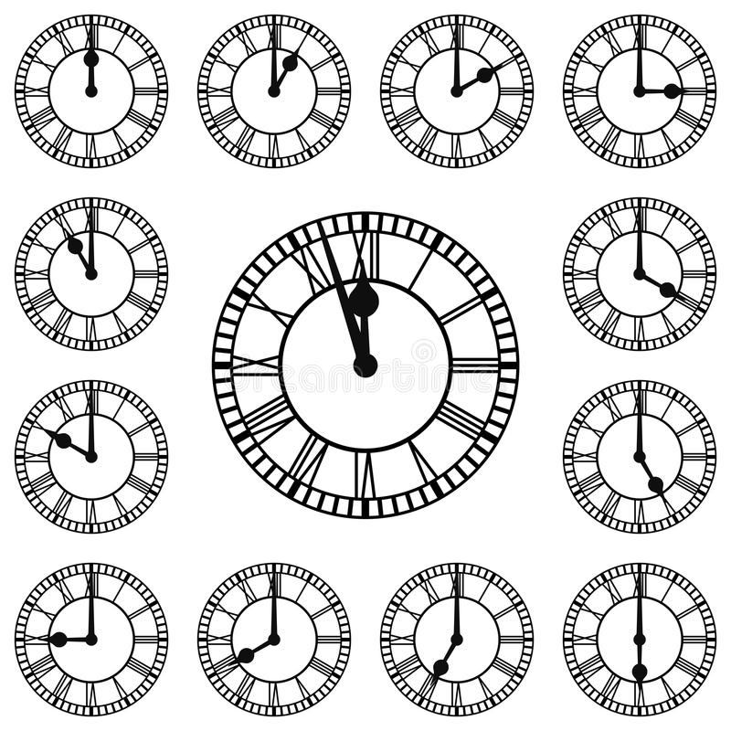 Download Roman Numeral Clocks Showing Every Hour Stock Vector - Image: 32722838