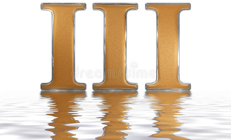 Roman numeral III, tres, 3, three, reflected on the water surface, isolated on white, 3d render vector illustration
