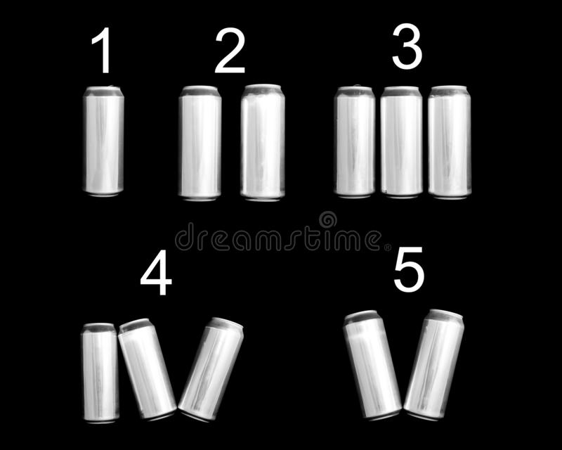 Roman numeral 1 2 3 4 5. Made of aluminum cans on a black background Isolated. Numbering one two three four five.  vector illustration