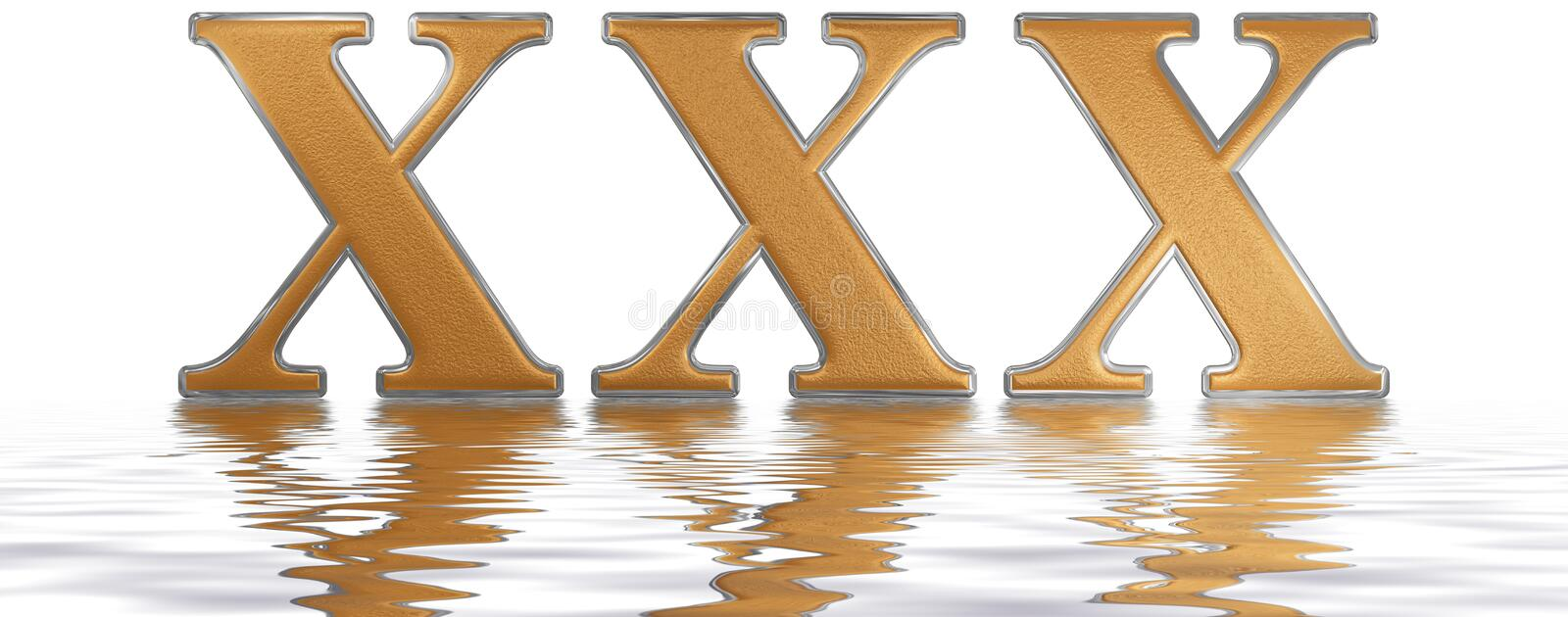 Roman numeral XXX, triginta, 30, thirty, reflected on the water. Surface, isolated on white, 3d render stock illustration