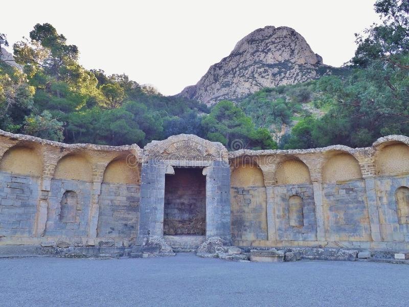 Roman Nymphaeum in Zaghouan, Tunesië stock foto