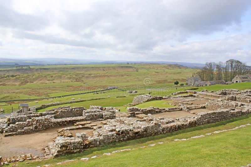 Roman overblijfselen in Housesteads, Northumberland royalty-vrije stock foto's