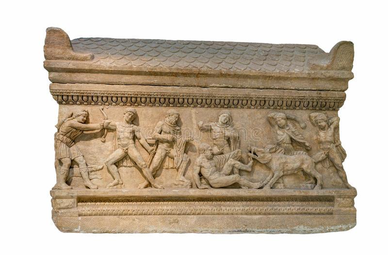 Roman period marble attic sarcophagus found in Peloponnese, Greece stock photography