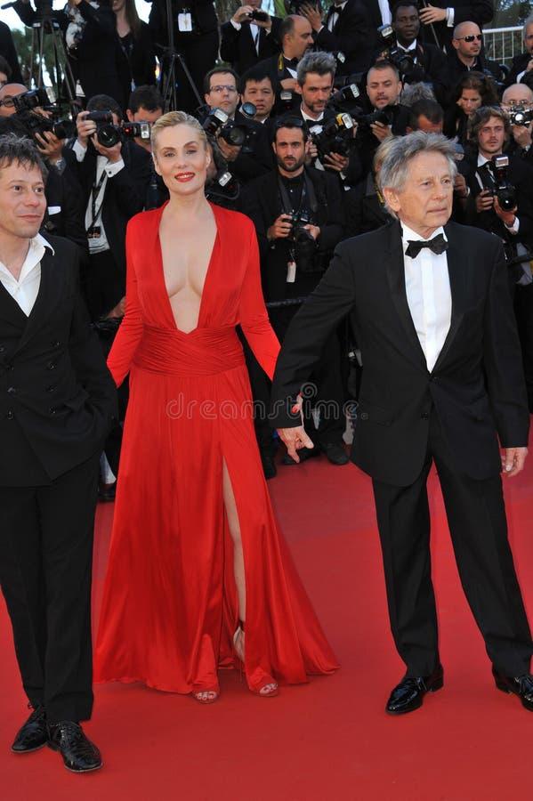 Roman Polanski & Emmanuelle Seigner & Mathieu Amalric fotos de stock