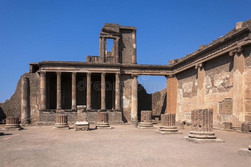 Pompeii. Roman Pompeii ruins, Basilica in Regio VIII royalty free stock photography
