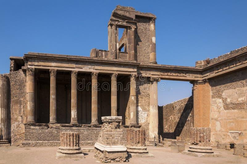 Pompeii. Roman Pompeii ruins, Basilica in Regio VIII stock photography