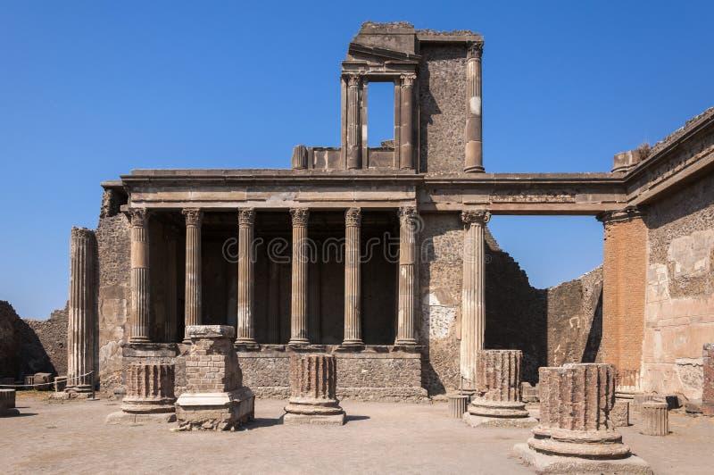 Pompeii. Roman Pompeii ruins, Basilica in Regio VIII stock photo