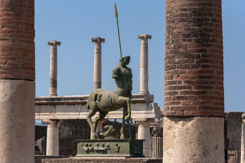Pompeii. Roman Pompeii ruins, Equestrian statue in Regio VII royalty free stock photography