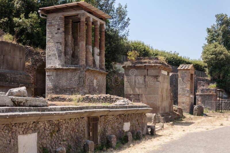 Pompeii. Roman Pompeii ruins, Necropolis of Porta Nocera in Regio I royalty free stock images