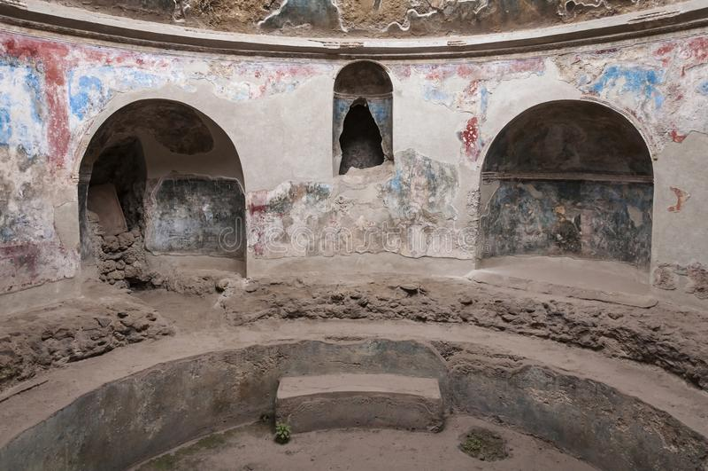 Pompeii. Roman Pompeii ruins, Stabian Baths in Regio VII royalty free stock images