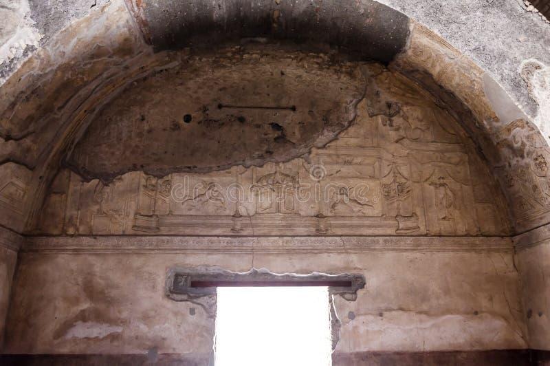 Pompeii. Roman Pompeii ruins, Stabian Baths in Regio VII royalty free stock photos