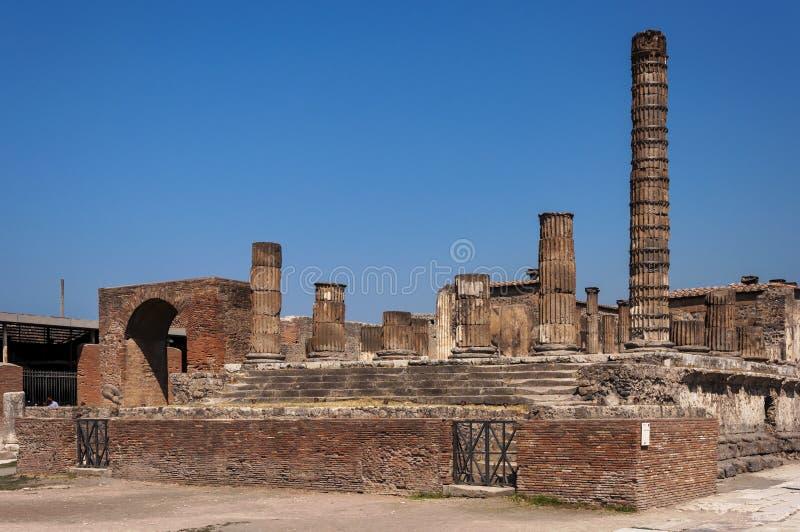 Pompeii. Roman Pompeii ruins, Temple of Jupiter in Regio VII stock photo