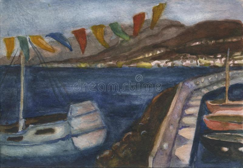 Roman port in Hersonissos in evening stock illustration