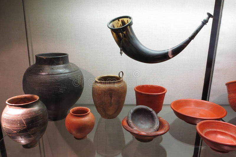 Roman pottery collection stock image