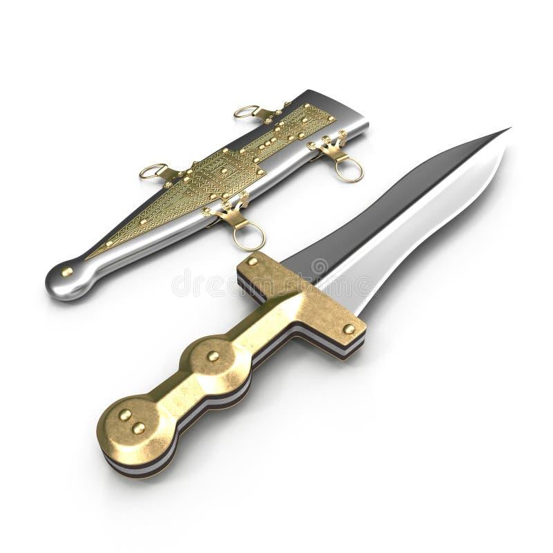 Roman Pugio Dagger com a bainha no branco ilustração 3D ilustração stock
