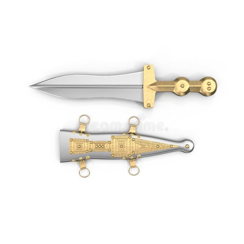 Roman Pugio Dagger con la guaina su bianco Vista superiore illustrazione 3D royalty illustrazione gratis