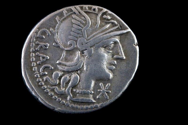 Roman republican coin ,136 BCE. Roman republican denarius of Lucius Antestius Gragulus 136 BCE. Helmeted head of Roma right, GRAG behind royalty free stock photos