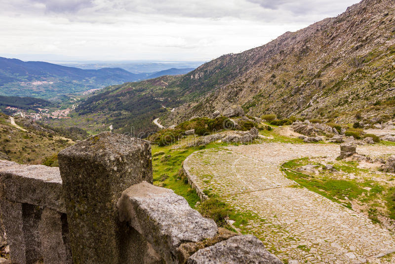 Roman road, Spain. Roman road crossing the Gredos mountains of Spain stock image