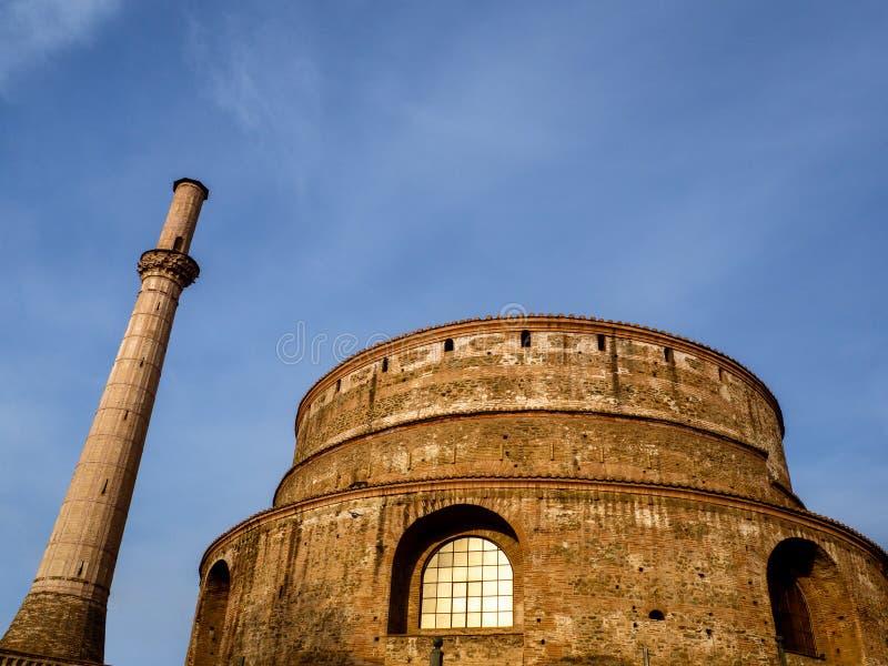 Roman Rotunda-tempel in Thessaloniki van 306 ADVERTENTIE nu een Orthodoxe Christelijke kerk stock afbeeldingen