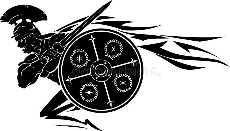 Roman Round Shield de carregamento ilustração royalty free
