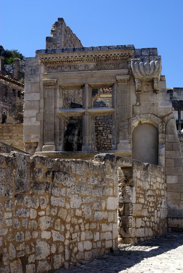 Roman ruïnes Les Baux DE de Provence stock fotografie