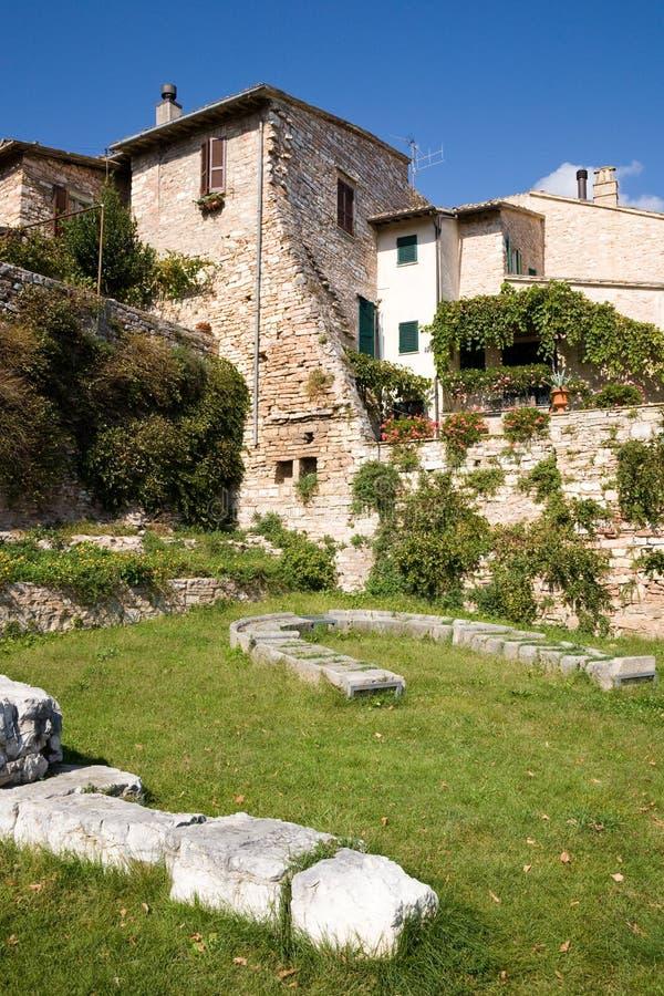 Roman ruïnes, Spello, Umbrië stock afbeelding