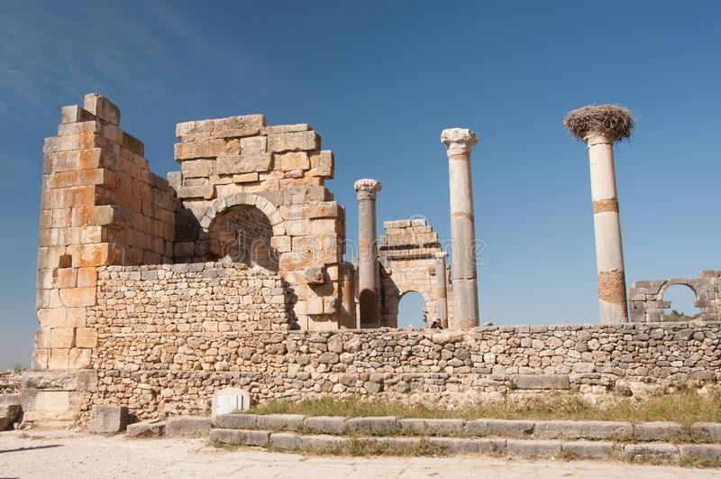 Roman ruïnes van Volubilis, Marokko stock afbeelding