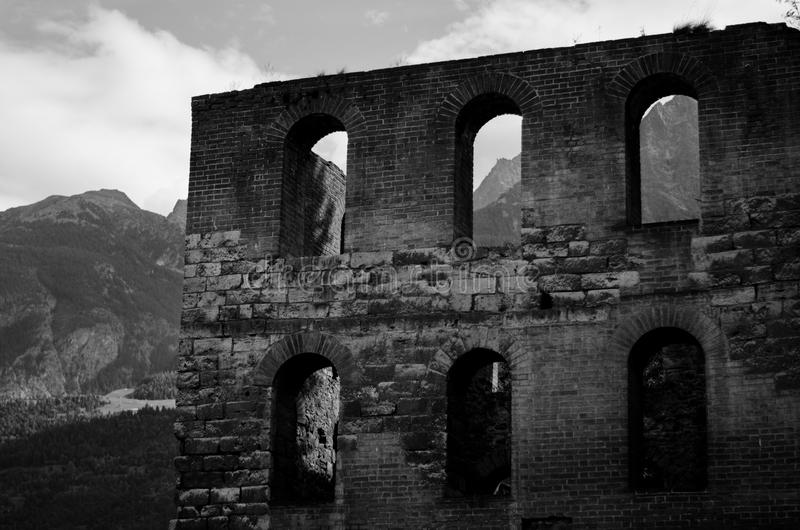 Roman ruin in Aosta- Italy stock photo