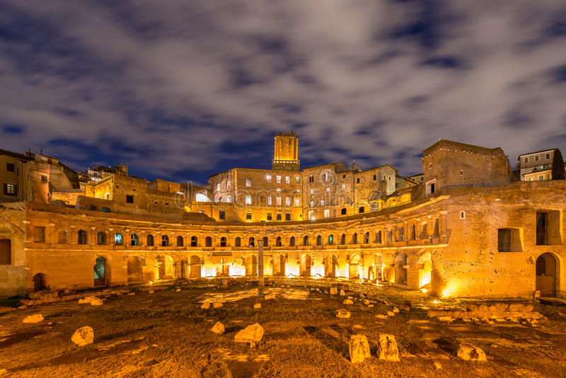 Roman ruines during evening. Hours in Rome Italy royalty free stock images