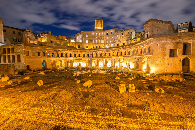 Roman ruines during evening hours. In Rome Italy stock photography