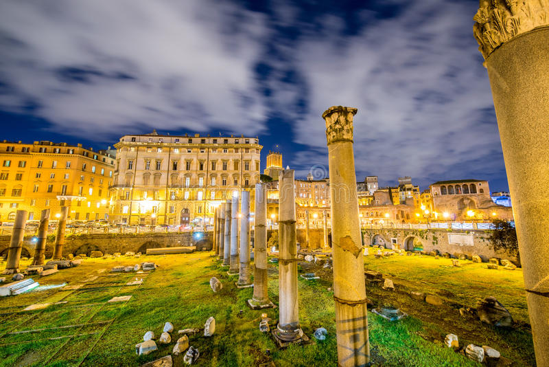 Roman ruines during evening hours. In Rome Italy stock image