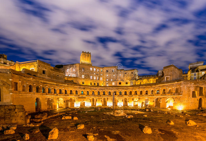 Roman ruines during evening hours. In Rome Italy royalty free stock photography