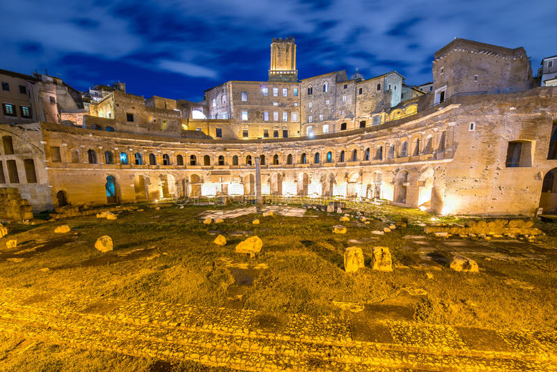 Roman ruines during evening hours. In Rome Italy stock photo