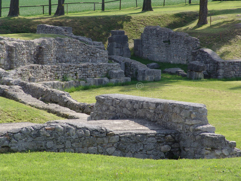 Roman ruins. Of an amphitheater, Carnuntum, Austria stock photo