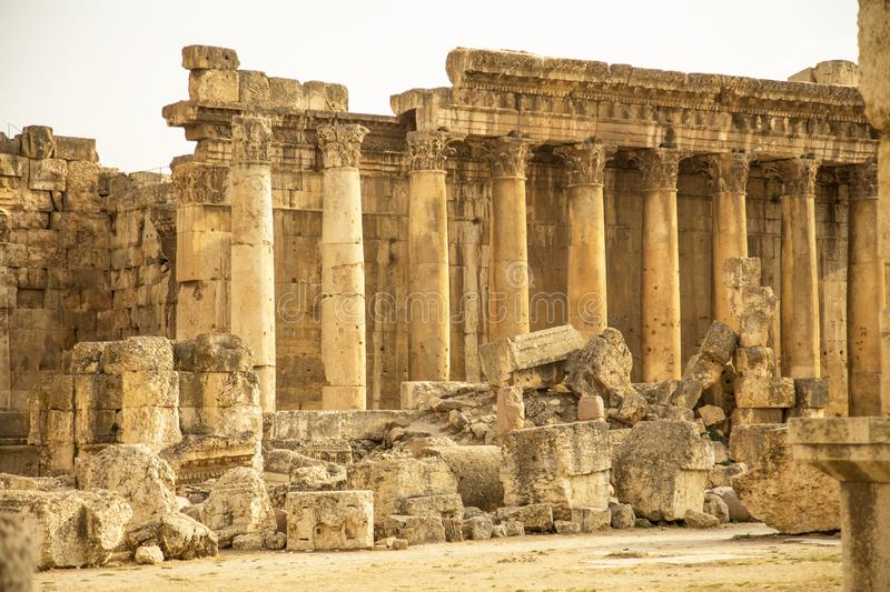 Roman ruins of ancient Heliopolis. Baalbek, Bekaa Valley, Lebanon royalty free stock images