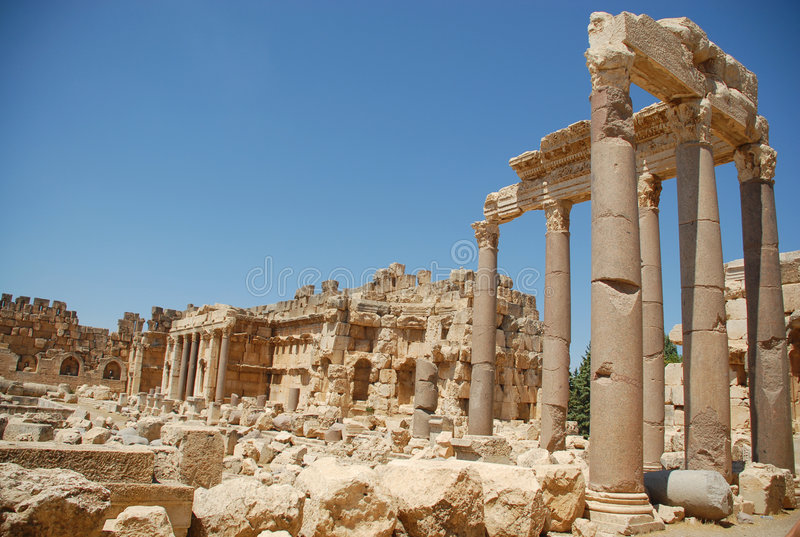 Roman ruins bacchus temple royalty free stock photography