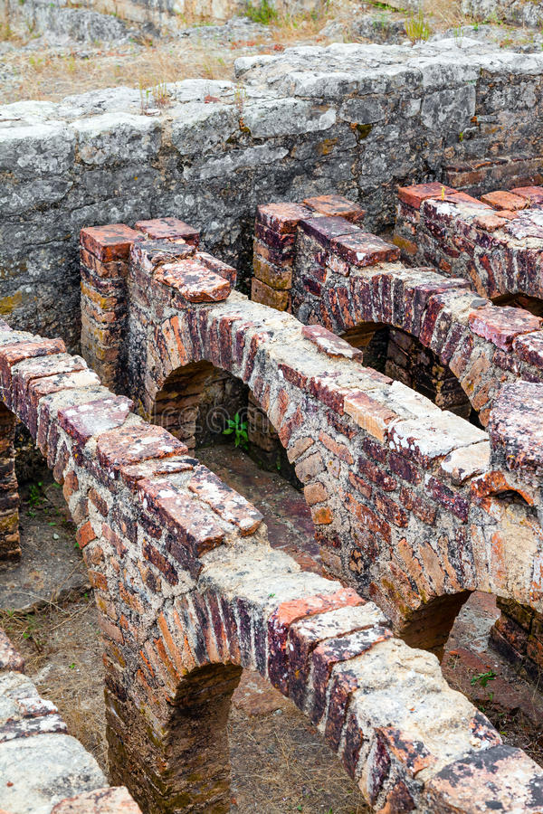 Roman ruins of Conimbriga. The Hypocaust royalty free stock photo
