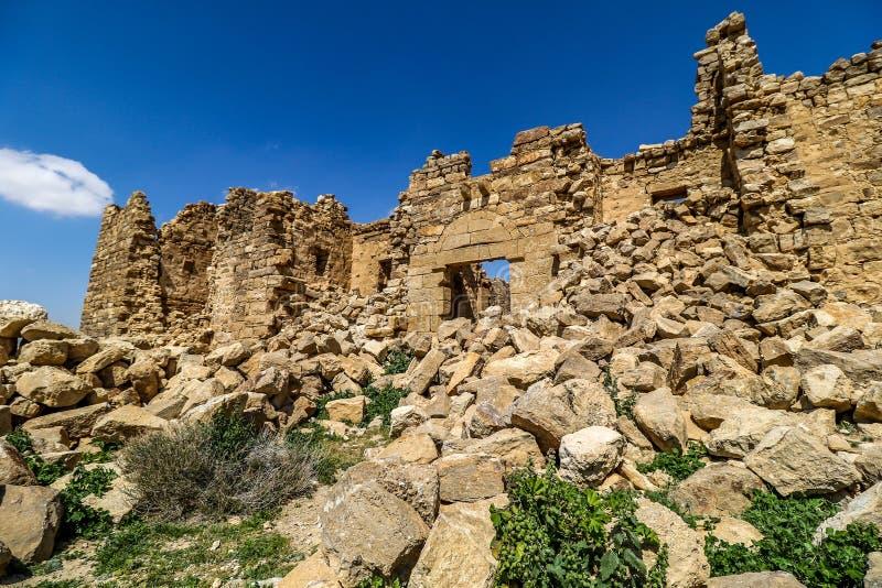Roman Ruins em Jordânia, castelo Bashir Roman Fortress imagens de stock royalty free