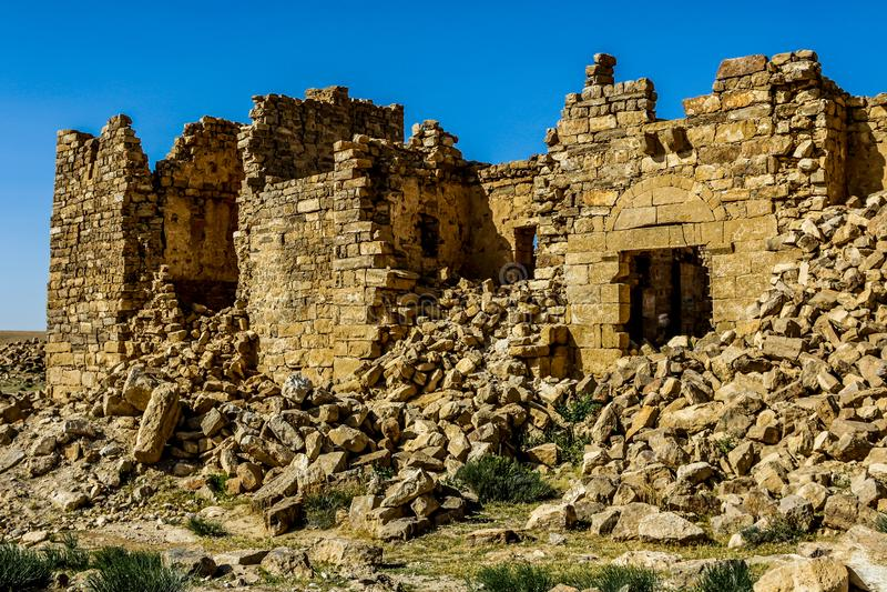 Roman Ruins em Jordânia, castelo Bashir Roman Fortress foto de stock