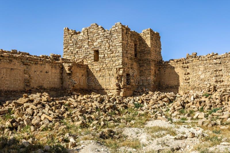 Roman Ruins em Jordânia, castelo Bashir Roman Fortress imagem de stock