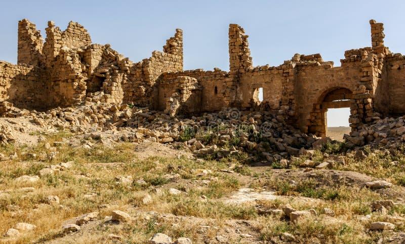 Roman Ruins em Jordânia, castelo Bashir Roman Fortress fotografia de stock royalty free