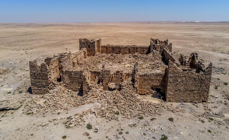 Roman Ruins em Jordânia, castelo Bashir Roman Fortress foto de stock royalty free