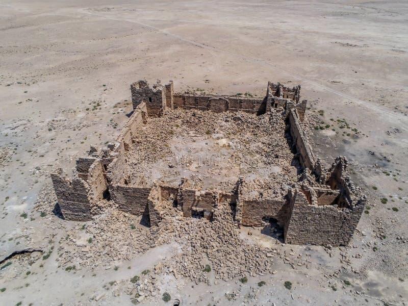 Roman Ruins em Jordânia, castelo Bashir Roman Fortress imagens de stock