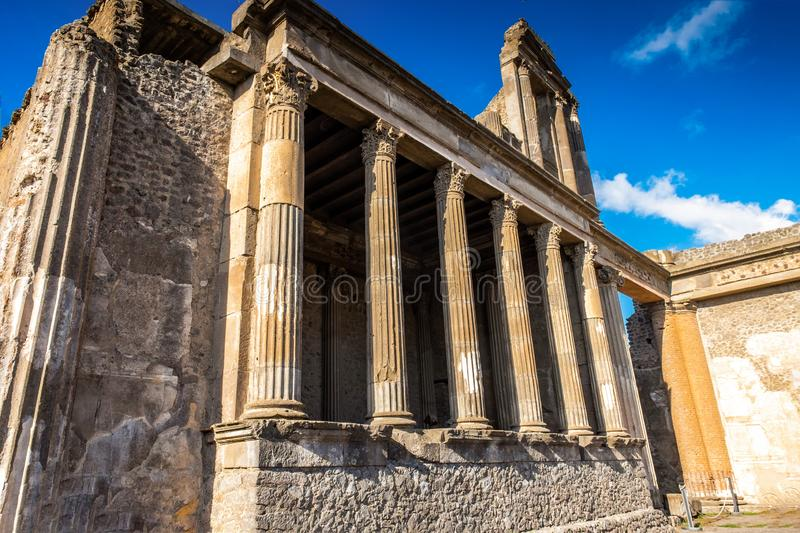 Roman ruins after the eruption of Vesuvius in Pompeii royalty free stock photos