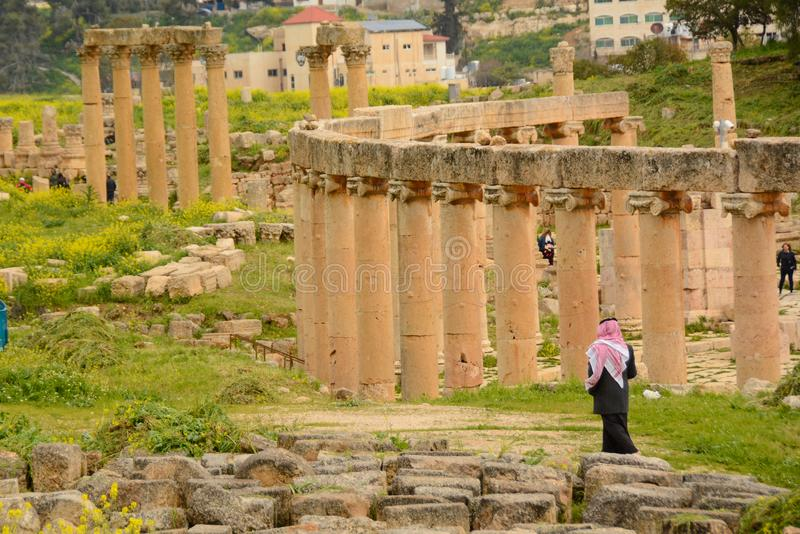 Roman ruins in Jerash royalty free stock images