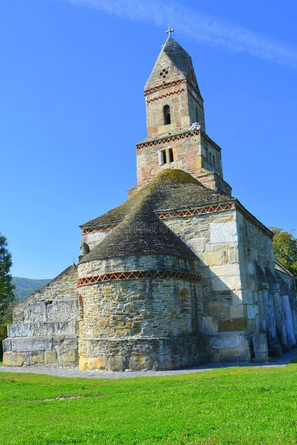 Roman ruins and old Christian church IV century in the village Densus, Transylvania, Romaniaa stock image