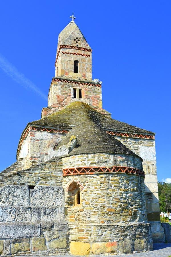 Roman ruins and old Christian church IV century in the village Densus, Transylvania, Romaniaa stock photos