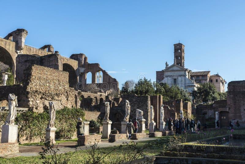 Roman ruins of the Palatino in Rome, Italy royalty free stock photo